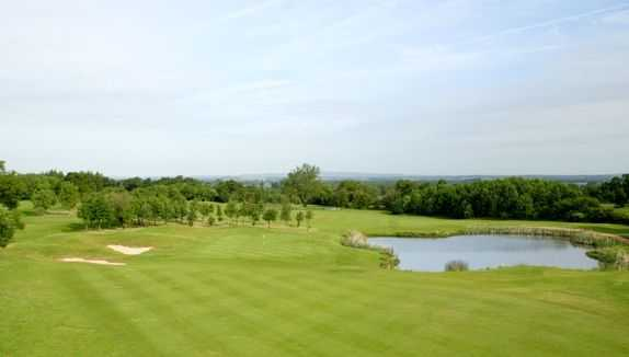 A view of a hole with water coming into play from right at Shropshire Golf Centre