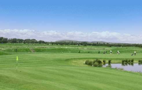 A view of a green with water coming into play at Brean Golf Club