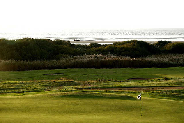 A view of the 1st hole at Channel Course from Burnham & Berrow Golf Club