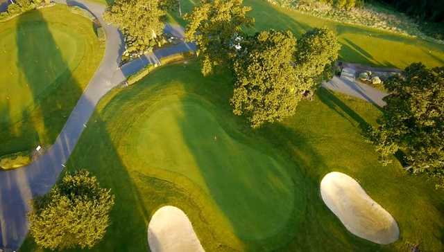 Aerial view of a green and practice putting green at Bristol Golf Club