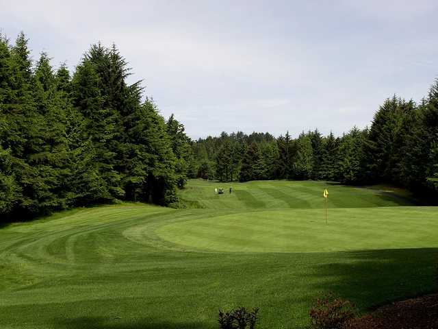 View of the 3rd green at Salishan Golf Links.