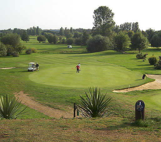 A view of green #1 protected by bunkers at Suffolk Golf Hotel & Spa