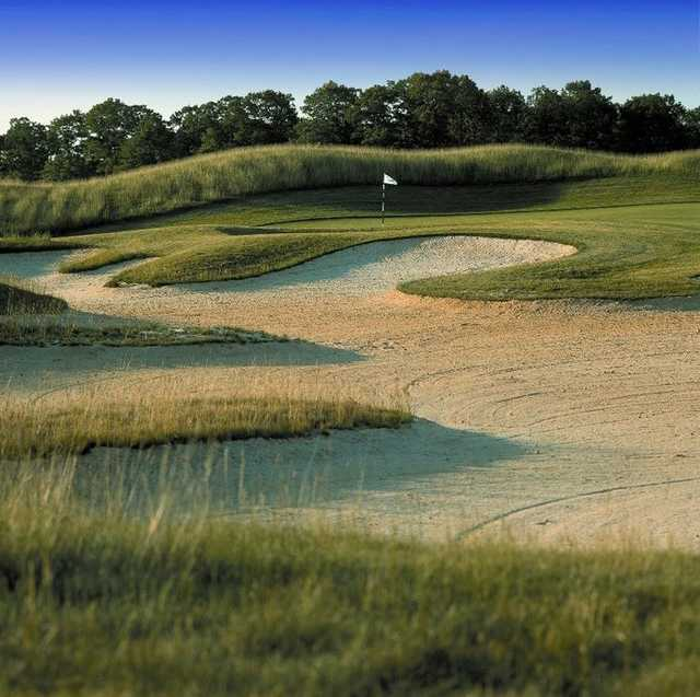 View of a bunkered hole at Scotland Run Golf Club
