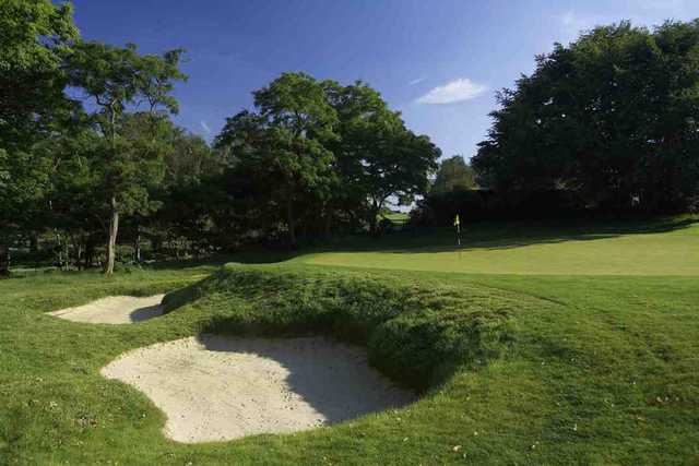 A view of hole #7 protected by tricky bunkers at Old Course from Burhill Golf Club