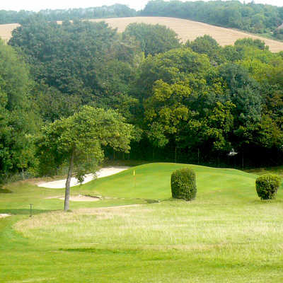 A view of the 5th green at Chipstead Golf Club