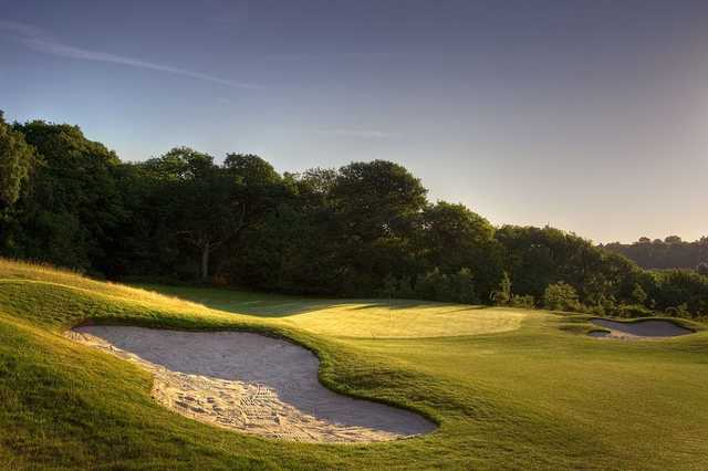 A view of the 2nd green guarded by tricky bunkers at Blue Course from Farleigh Golf Club