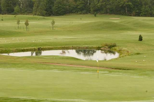 View of a green and pond at Fanshawe Golf Course