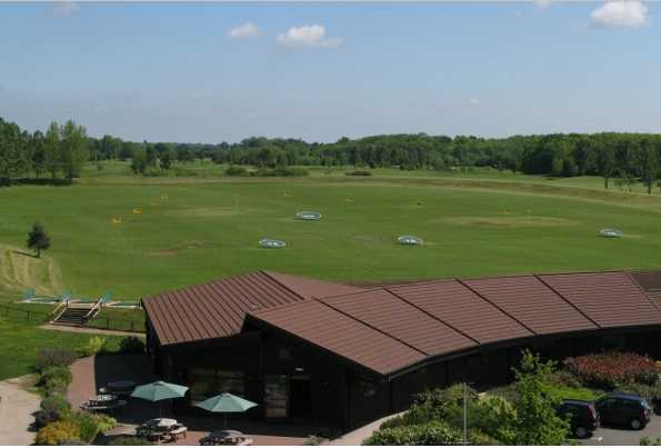 A view of the driving range at Stratford Oaks Golf Club