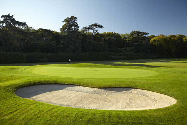 Perfectly manicured 3rd green as seen on the Park course at Goodwood Golf Club.