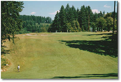 #15: Blind tee shot, so stay on the right side of fairway (hazard on left). Semi-blind uphill 2nd shot with a middle to short iron to get to a green guarded on the left by bunkers. Allow your ball to run to the green.