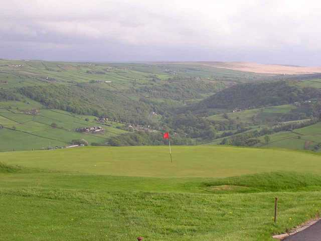 A view of the 2nd green at Hebden Bridge Golf Club