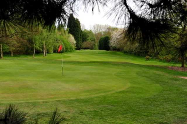 A view of the 10th green through the trees at Kidderminster Golf Club