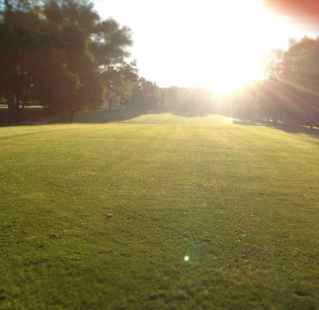 A sunny view of a fairway at Ingersoll Golf Course