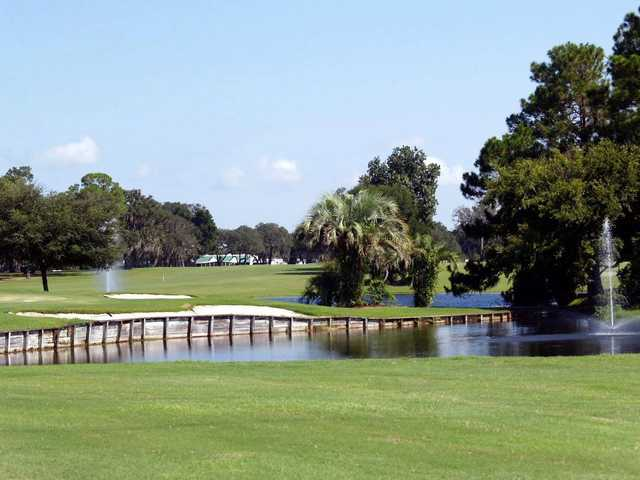 A view of the clubhouse from green #17 at Continental Country Club