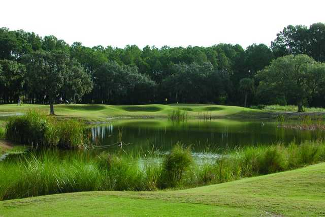A view over the pond of hole #8 from Legends At Parris Island