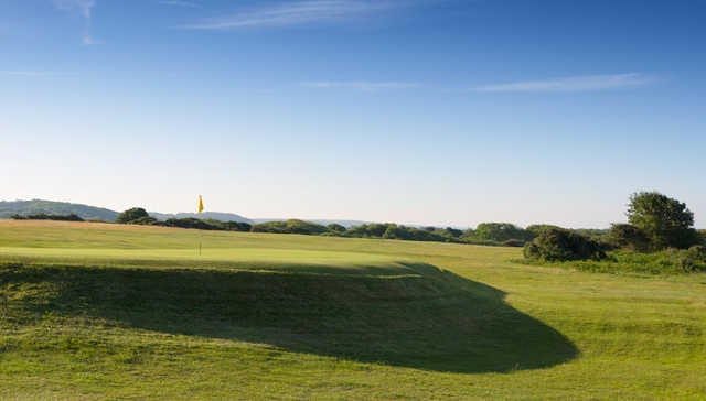 A view of green #1 at Pyle and Kenfig Golf Club