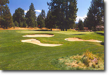 Widgi Creek #5: Don't be fooled by the length. The dramatic 3-tiered green demands pin-point accuracy to avoid 3 putting