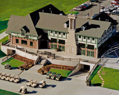 Aerial view of the clubhouse at Stonebridge Golf Club