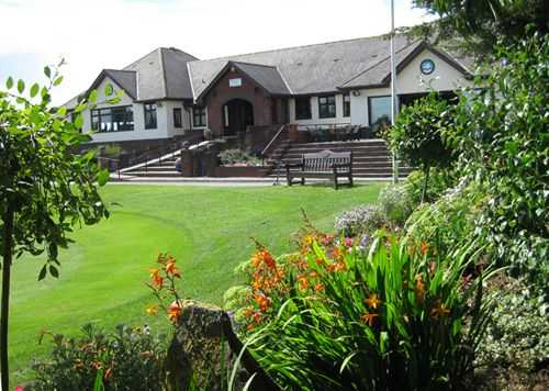 A view of the clubhouse at Peterstone Lakes Golf Club