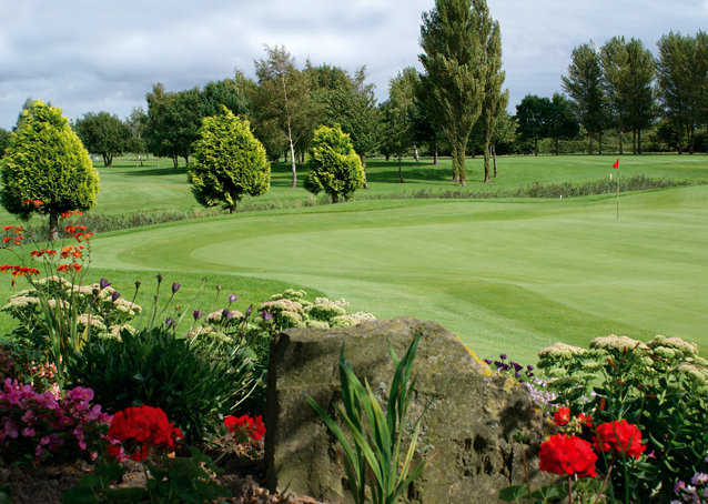 A view of the 18th hole at Peterstone Lakes Golf Club