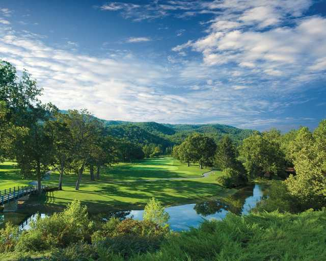 A view over the water of a fairway from Old White Course at Greenbrier