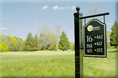 A view of the 16th tee sign at Mattawang Golf Club