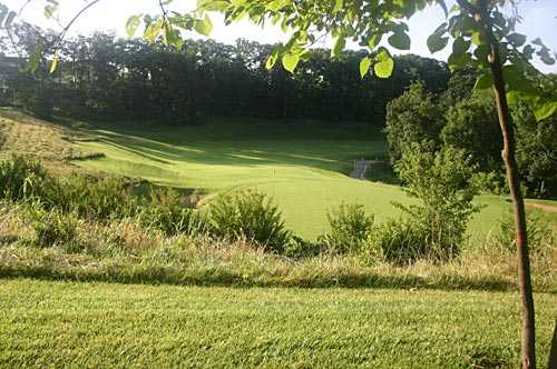 A view of green #2 at Woodland from Tapawingo National Golf Club