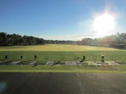 A sunny view from the driving range tees at Eagle Ridge Golf Club