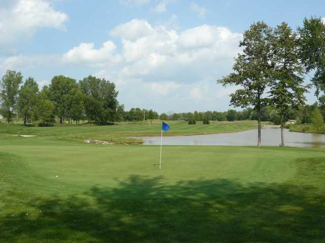 A view of green #8 with water in background at West Bend Lakes