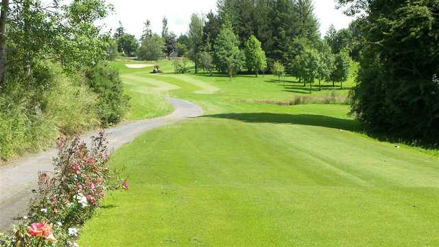 A view from a tee with narrow path on the left side at Mountrath Golf Club