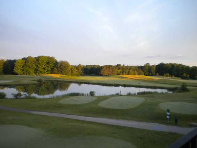 A view from the pro shop at Mistwood Golf Course