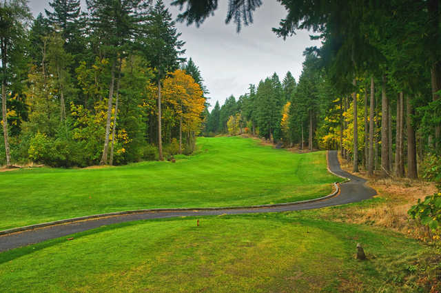 "Skamania Lodge #3: The ""Summit"" hole. The most demanding par 5 offers no relief until the ball is holed. Uphill all the way, this hole requires three well-hit shots to reach the green, the highest point on the course. Be sure to check the pin placement as"