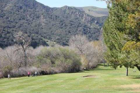 A view of a hole protected by bunkers at Zaca Creek Golf Course
