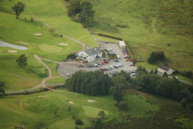 Aerial view of the clubhouse at Claremorris Golf Club