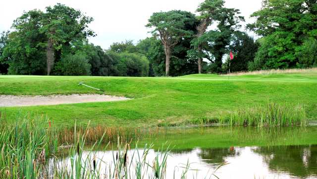 A view over the pond of a green at Newcastle West Golf Club