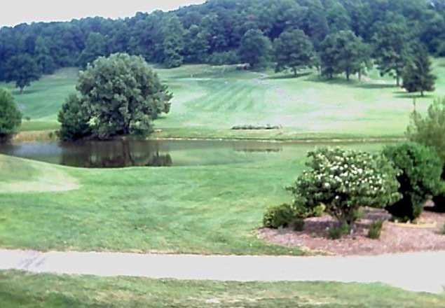 A view over the water of fairway #10 at Green Valley Golf Club