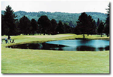 Lewis River #1: Select your club carefully at the tee. Water runs across the front of the green 180 yards out. The fairway wraps around the left side of the lake and narrows to a green that pitches toward the water.