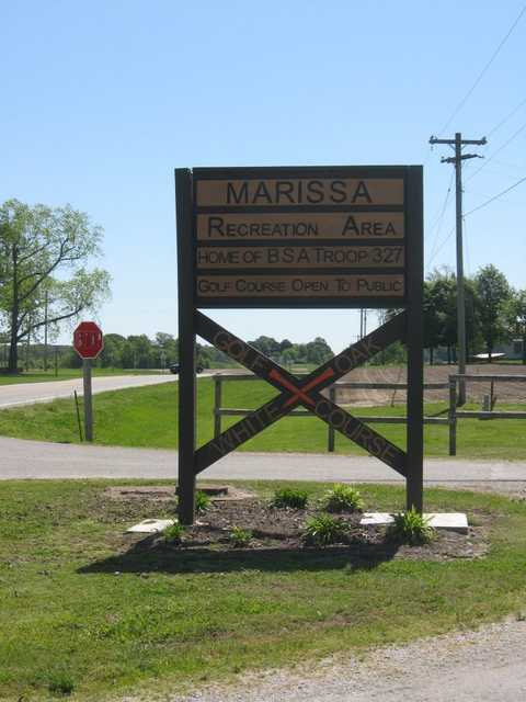 A view of the main entrance to White Oak Golf Course at Marissa Recreation Area