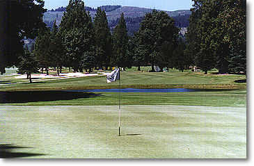 Lewis River #14: Water also lines the front of a green that slants toward the water. (Photo from the back of the green)