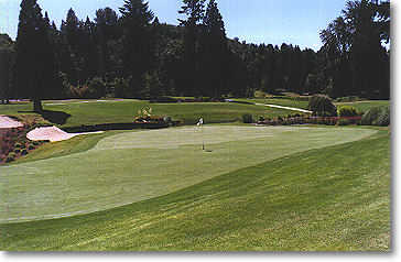 Hole #17: The green is extremely large and pitches toward the water. (Photo from the back of the green.)