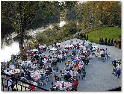 The outside patio overlooks the Lewis River and is a wonderful way to relax after your round of golf.