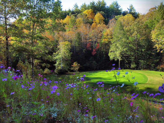A fall view of green #13 at Dorchester Golf Club