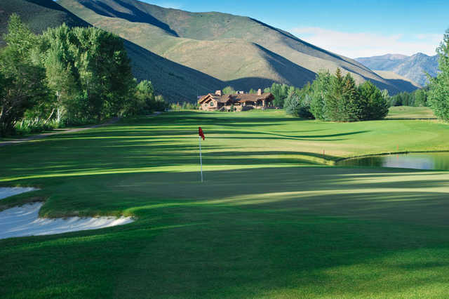 A view of hole #1 at Trail Creek Course from Sun Valley Resort