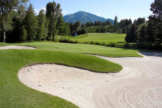 A view of the 3rd green at Trail Creek Course from Sun Valley Resort