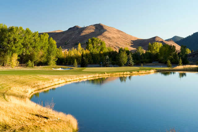 A view of green #1 with water coming into play at White Clouds from Sun Valley Resort