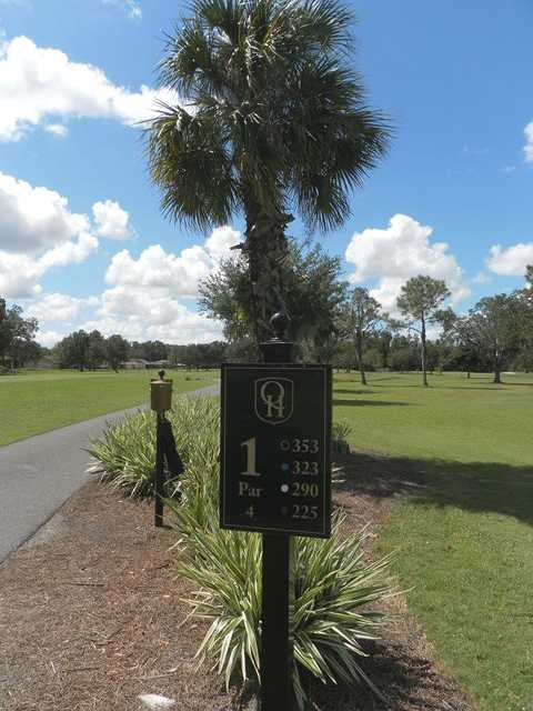 A view of the 1st tee sign at Quail Hollow Golf Course