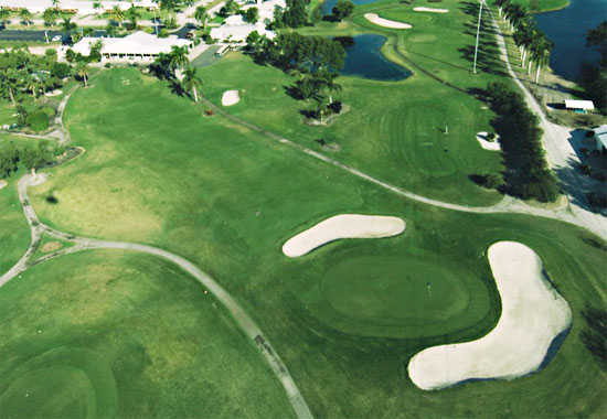 Aerial view of the 1st hole at Myerlee Country Club