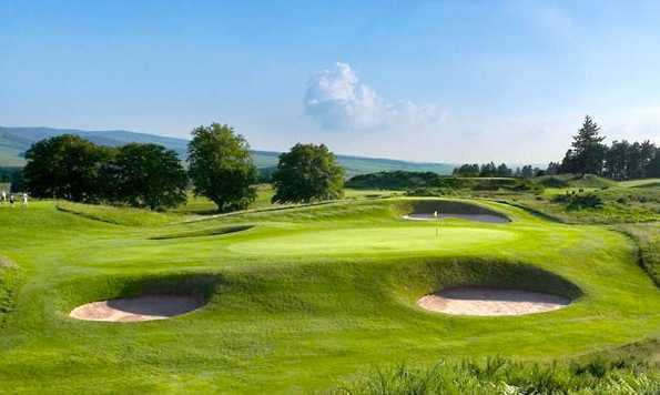 A view of the 8th green at King's Course from Gleneagles Hotel
