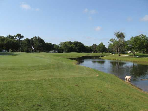 A view of a green with water coming into play at Dubsdread Golf Course