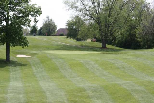 A view of the 1st green at Lake James Golf Club